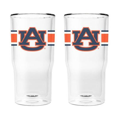Auburn 16 oz 2-Pack with Primary Logo/Stripe Glasses