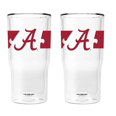 Alabama 16 oz 2-Pack with Primary Logo/Stripe Glasses