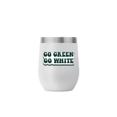 Michigan State 12 oz Gray Stemless 70s Bubble Font Tumbler