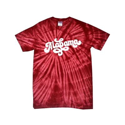 Alabama Women's Fun Font Short Sleeve Tie Dye Tee