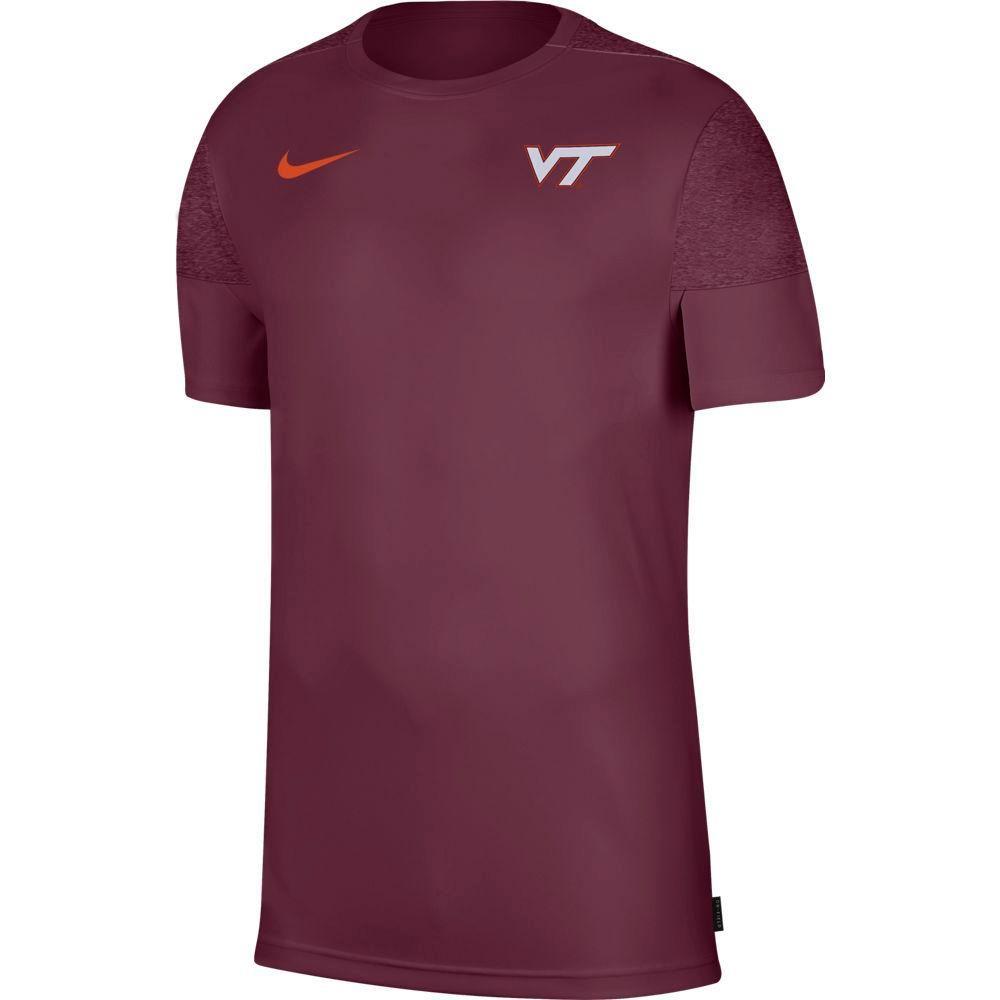 Virginia Tech Nike Men's Coach Uv Short Sleeve Top