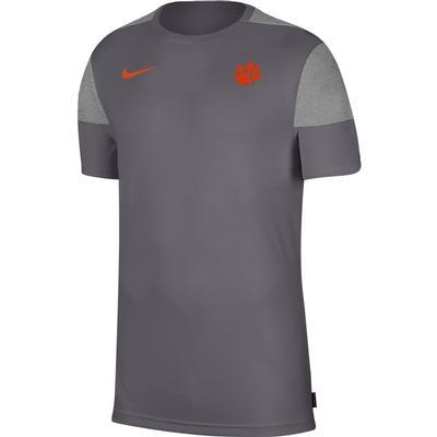 Clemson Nike Men's Coach UV Short Sleeve Top DARK_GREY