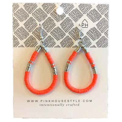 Florida Pink House Teardrop Sequin Earrings