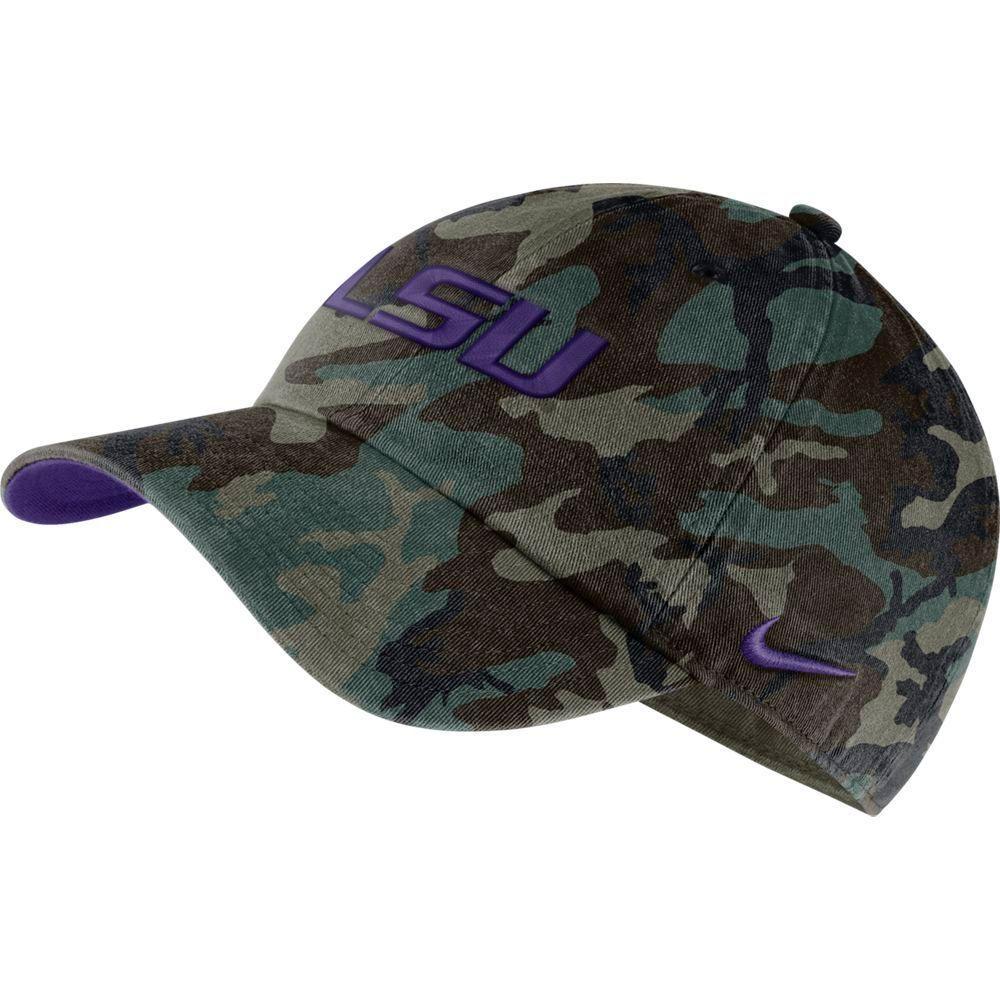 Lsu Nike Men's H86 Washed Camo Adjustable Hat