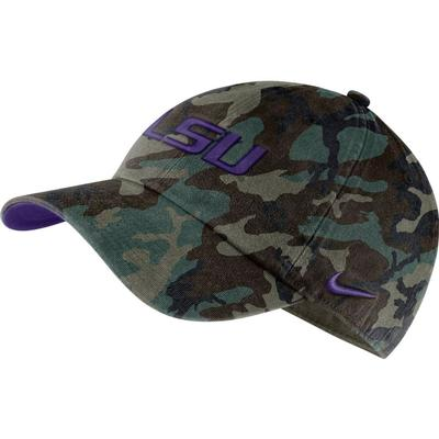LSU Nike Men's H86 Washed Camo Adjustable Hat