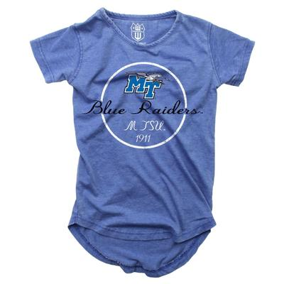 MTSU Girls Script Circle Hi Low Short Sleeve Tee