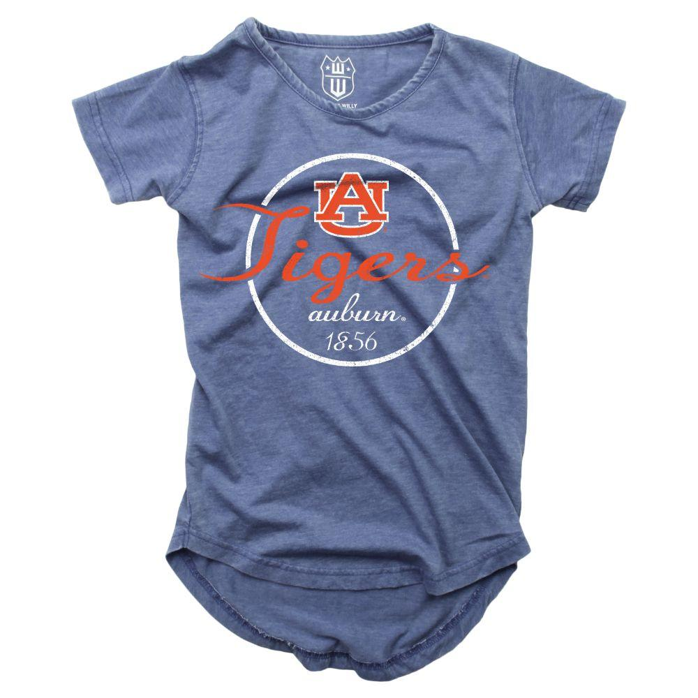Auburn Girls Script Circle Hi Low Short Sleeve Tee