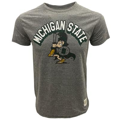 Michigan State Retro Brand Arch Triblend Tee