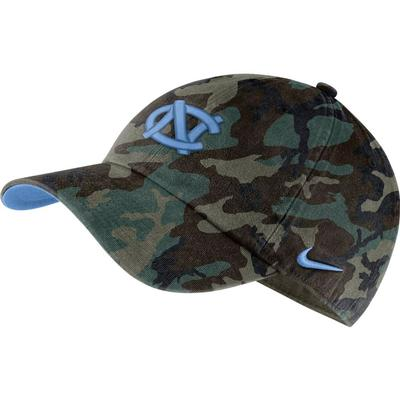 UNC Nike Men's H86 Washed Camo Adjustable Hat