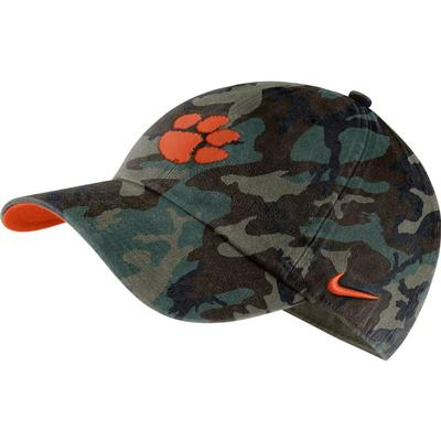 Clemson Nike Men's H86 Washed Camo Adjustable Hat
