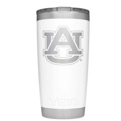 Auburn Yeti 20oz White Powder Coated Rambler