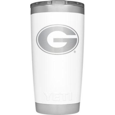 Georgia Yeti 20oz White Powder Coated Rambler