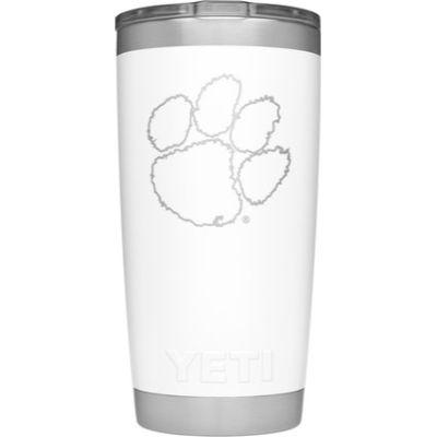 Clemson Yeti 20oz White Powder Coated Rambler