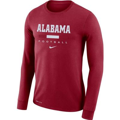Alabama Nike Men's Dri-fit Cotton Icon Word Long Sleeve Tee