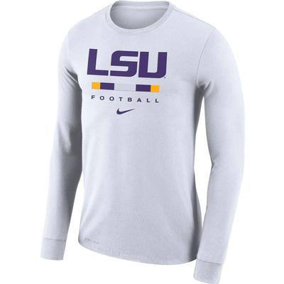 LSU Nike Men's Dri-fit Cotton Icon Word Long Sleeve Tee