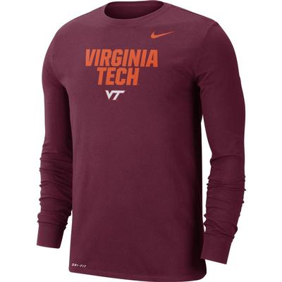 Virginia Tech Nike Men's Dri-fit Cotton Lockup Long Sleeve Tee