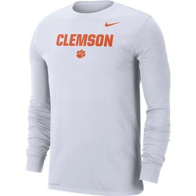 Clemson Nike Men's Dri-fit Cotton Lockup Long Sleeve Tee