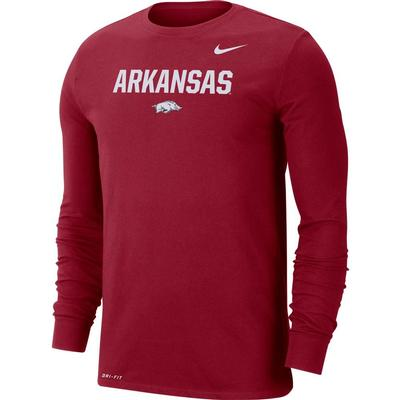 Arkansas Nike Men's Dri-fit Cotton Lockup Long Sleeve Tee