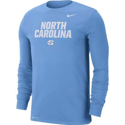 UNC Nike Men's Dri-fit Cotton Lockup Long Sleeve Tee