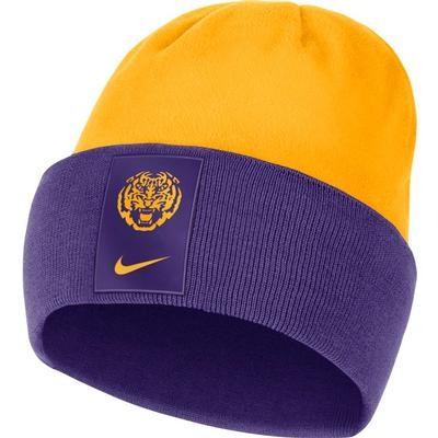 LSU Nike Men's Sideline Color Block Cuff Dry Beanie