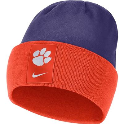 Clemson Nike Men's Sideline Color Block Cuff Dry Beanie