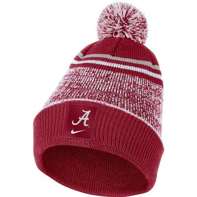 Alabama Nike Men's Sideline Cuff Beanie with Removable Pom