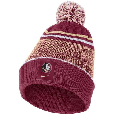 Florida State Nike Men's Sideline Cuff Beanie with Removable Pom