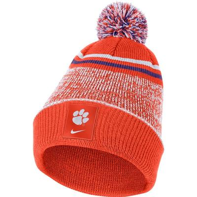 Clemson Nike Men's Sideline Cuff Beanie with Removable Pom