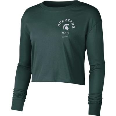 Michigan State Nike Women's Dry Cropped Long Sleeve Tee