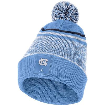 UNC Nike Men's Jordan Brand Cuff Beanie with Removable Pom
