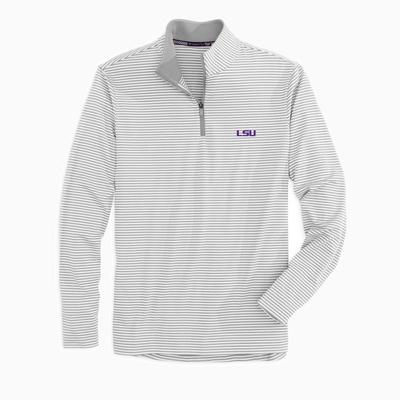 LSU Southern Tide Men's Tonal Stripe Performance 1/4 Zip Pullover
