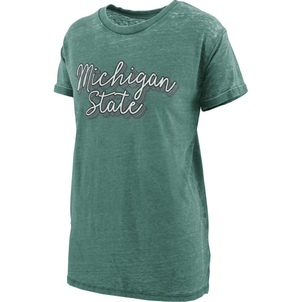 Michigan State Women's Pressbox Go Girl Vintage Wash Short Sleeve Tee
