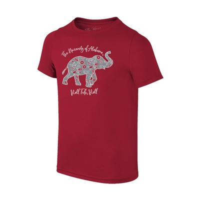 Alabama Youth Floral Elephant Roll Tide Roll Tee