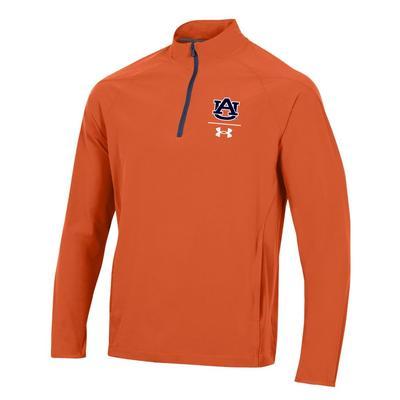Auburn Under Armour Men's Squad Coaches 1/4 Zip Long Sleeve Pullover ORANGE
