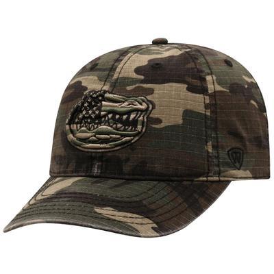 Florida Top of the World Woodland Camo Flag Logo Adjustable Hat