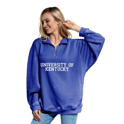 Kentucky Chicka-D Women's Everybody Stacked College 1/4 Zip Pullover COBALT