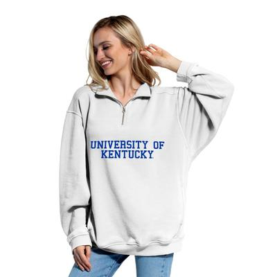 Kentucky Chicka-D Women's Everybody Stacked College 1/4 Zip Pullover WHITE
