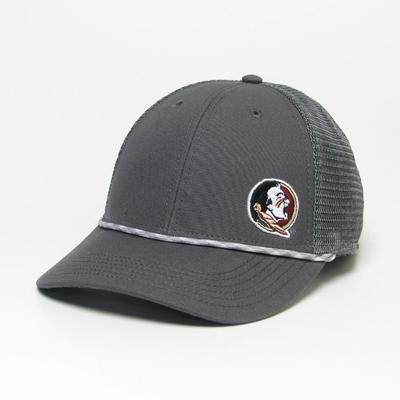 Florida State Legacy Men's Lo-Pro Left Hit Rope Trucker Adjustable Hat DK_GREY