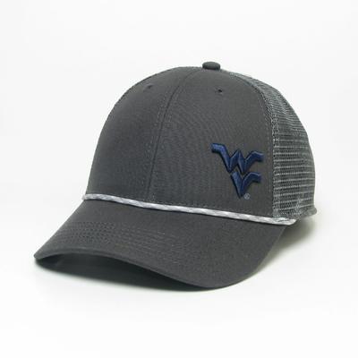 West Virginia Legacy Men's Lo-Pro Left Hit Rope Adjustable Trucker Hat DK_GREY
