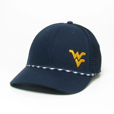West Virginia Legacy Men's Lo-Pro Left Hit Rope Adjustable Trucker Hat NAVY