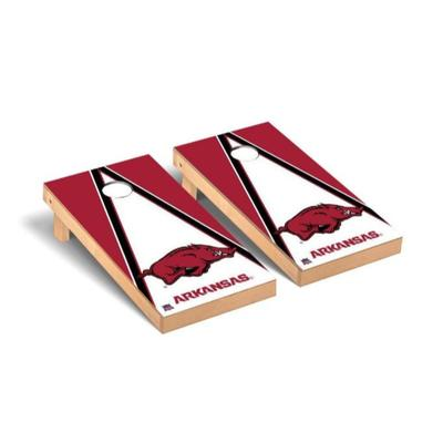 Arkansas Running Hog Triangle Cornhole Set