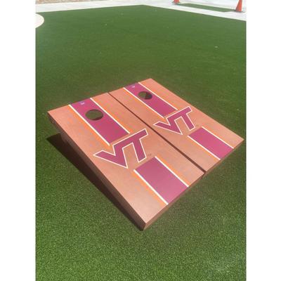 Virginia Tech Rosewood Stripe Cornhole Set