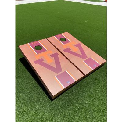 Virginia Tech Vault Rosewood Stripe Cornhole Set