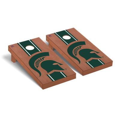 Michigan State Spartan Stripe Cornhole Set