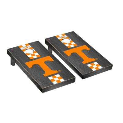 Tennessee Power T Check Stripe Onyx Cornhole Set