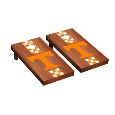 Tennessee Power T Check Stripe Rosewood Cornhole Set