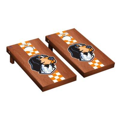 Tennessee Smokey Check Stripe Rosewood Cornhole Set