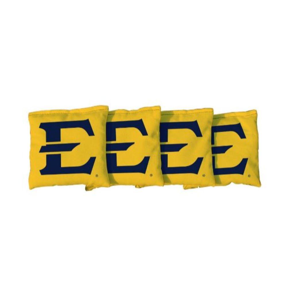 Etsu Block E Yellow Cornhole Bag Set