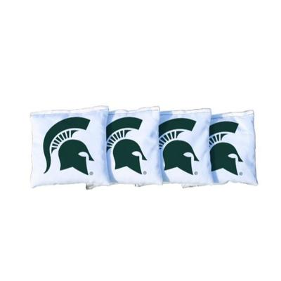 Michigan State Spartan White Cornhole Bag Set