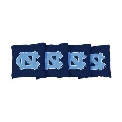 UNC NC Interlock Navy Cornhole Bag Set